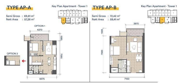 Apartemen - denah type AP-A & type AP-B